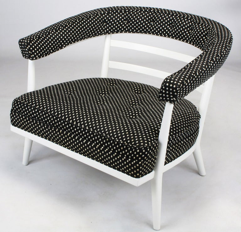 Four Bert England White Lacquer and Black Polka Dot Lounge Chairs In Excellent Condition For Sale In Chicago, IL