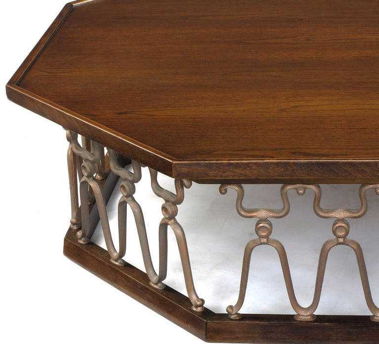 "20th Century John Van Koert ""Casa Del Sol"" Coffee Table of Walnut and Cast Metal Scrollwork For Sale"