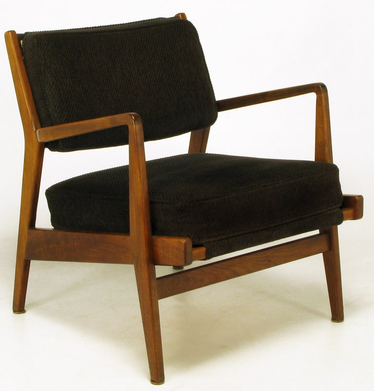 Elegant Jens Risom Teak Wood Arm Chair In Black Striped Chenille 2