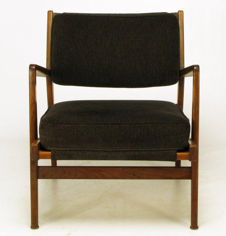 Danish Jens Risom Teak Wood Arm Chair In Black Striped Chenille For Sale