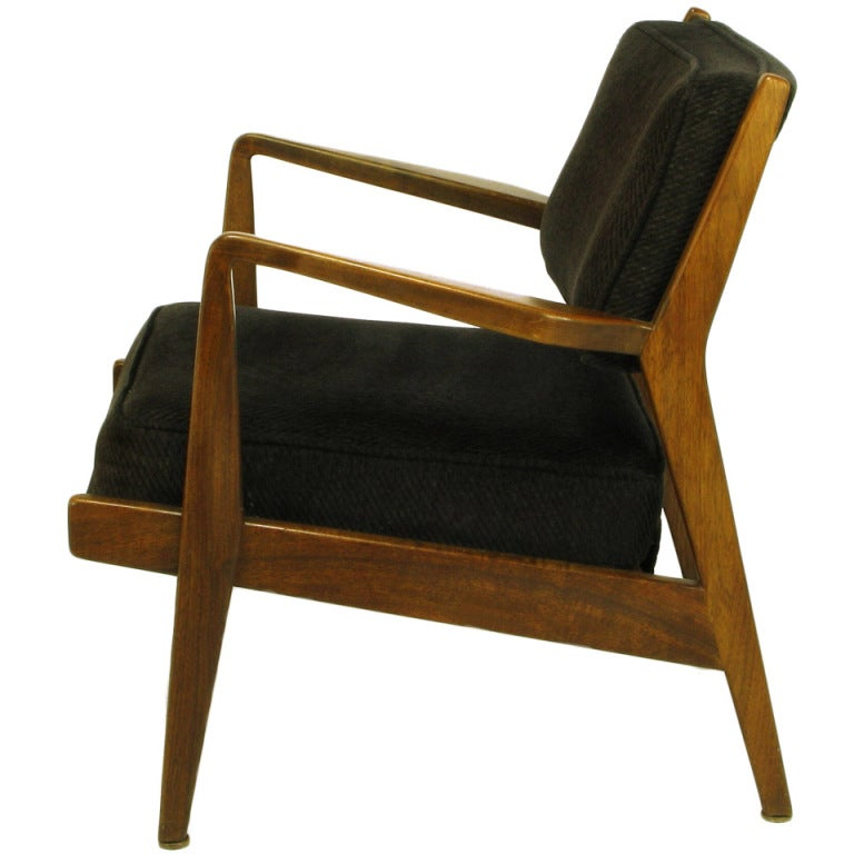 Asian Wood Arm Chairs ~ Jens risom teak wood arm chair in black striped chenille