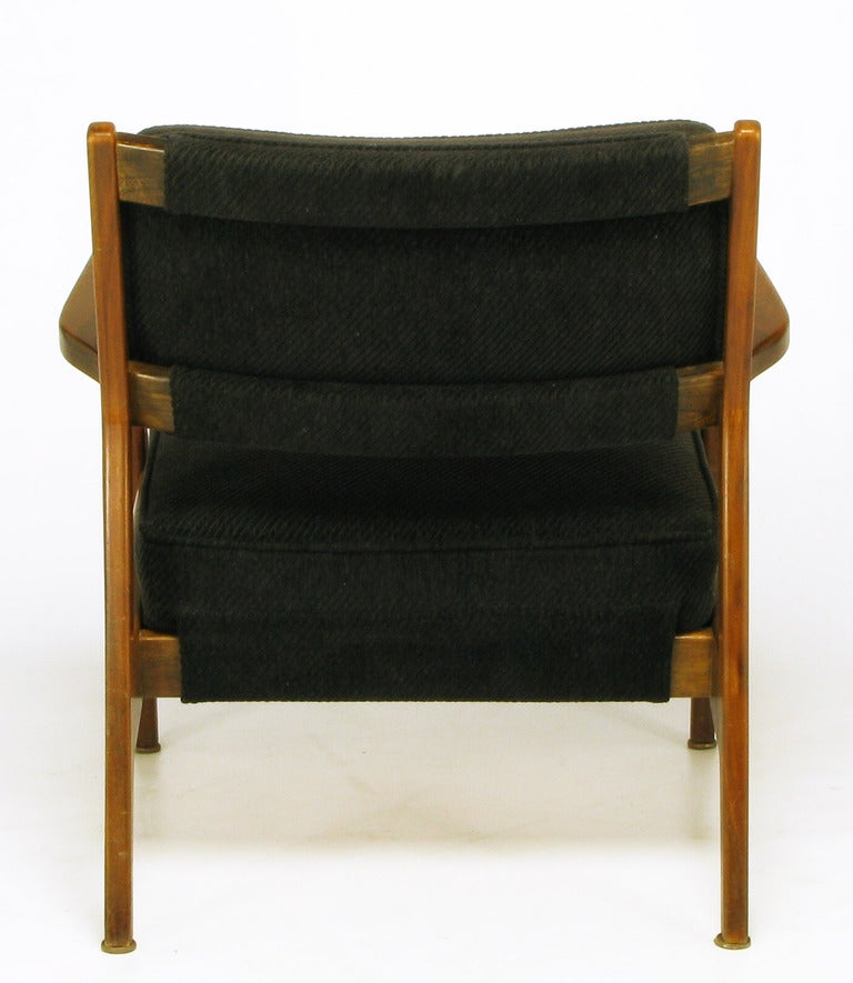 Mid-20th Century Jens Risom Teak Wood Arm Chair In Black Striped Chenille For Sale