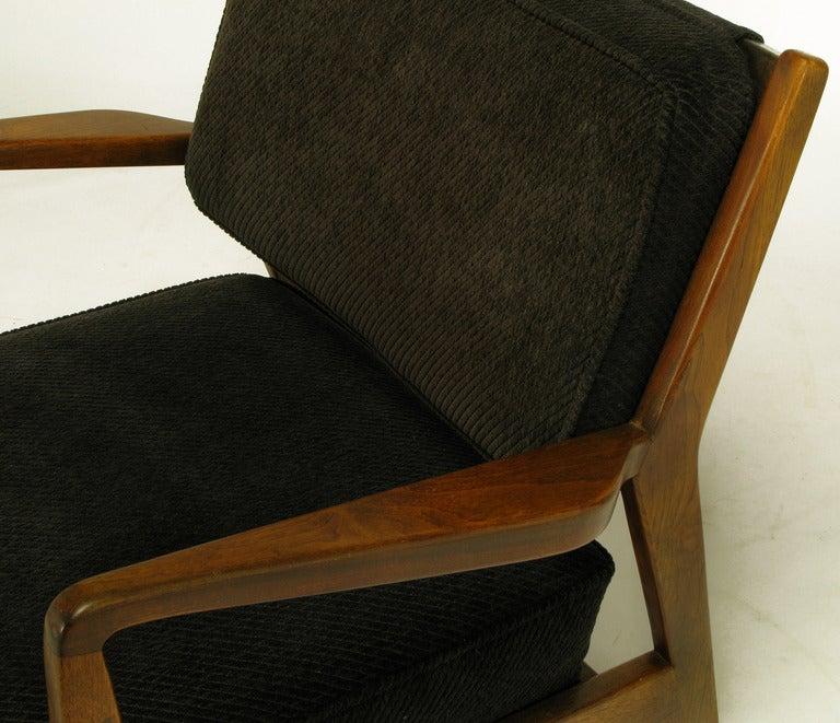 Jens Risom Teak Wood Arm Chair In Black Striped Chenille For Sale 1