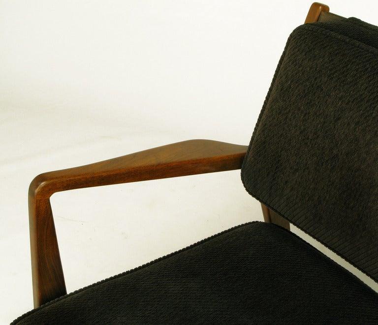 Jens Risom Teak Wood Arm Chair In Black Striped Chenille For Sale 2
