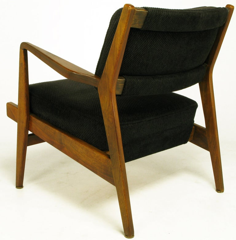 Jens Risom Teak Wood Arm Chair In Black Striped Chenille In Good Condition For Sale In Chicago, IL