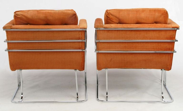 Pair Milo Baughman Chrome And Persimmon Velvet Club Chairs