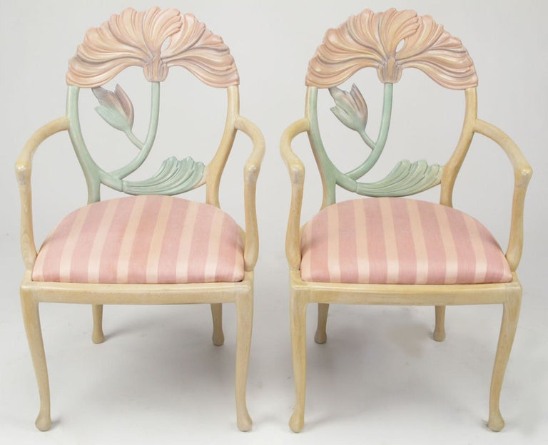 Pair of Italian Polychrome Carved Poppy Armchairs For Sale