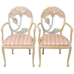 Pair of Italian Polychrome Carved Poppy Armchairs