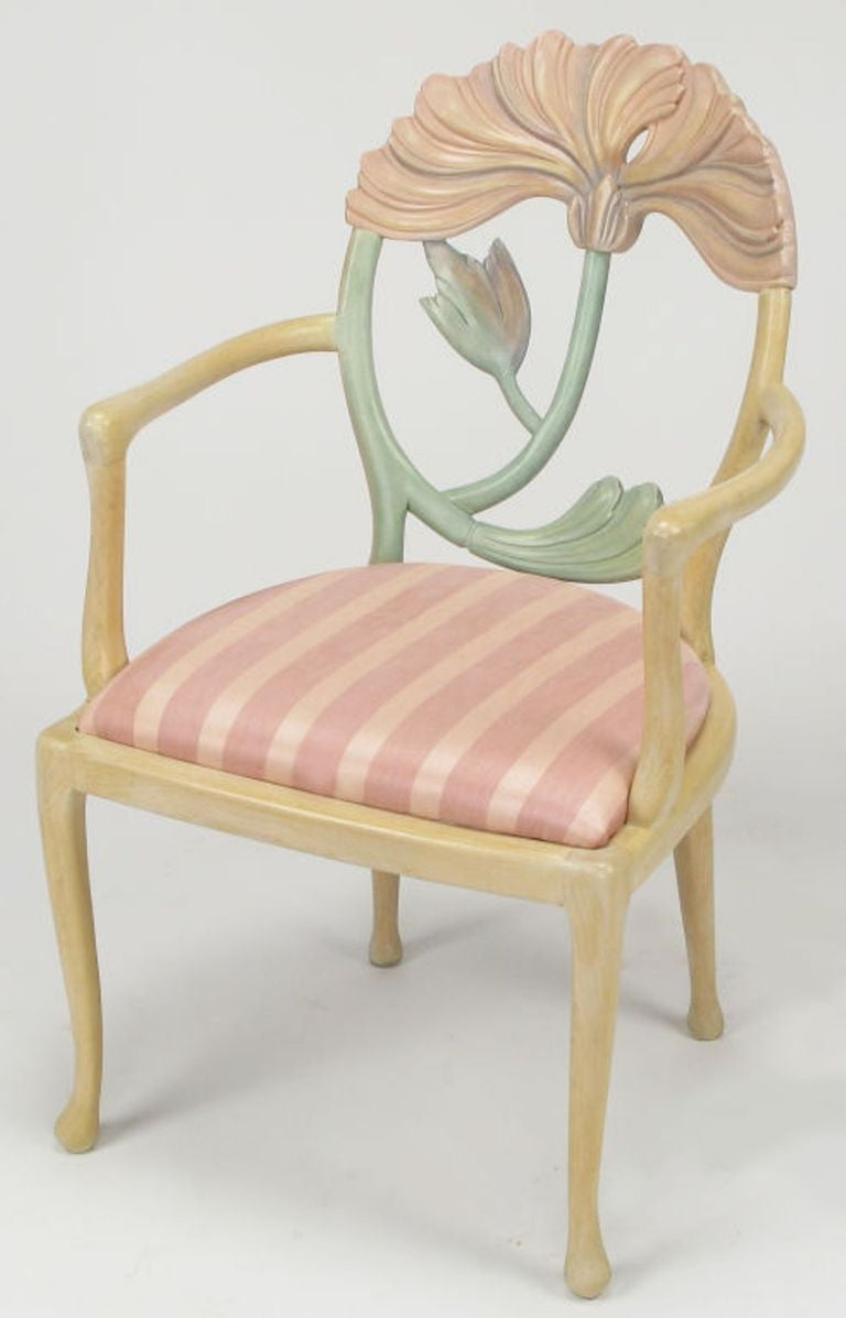 Late 20th Century Pair of Italian Polychrome Carved Poppy Armchairs For Sale