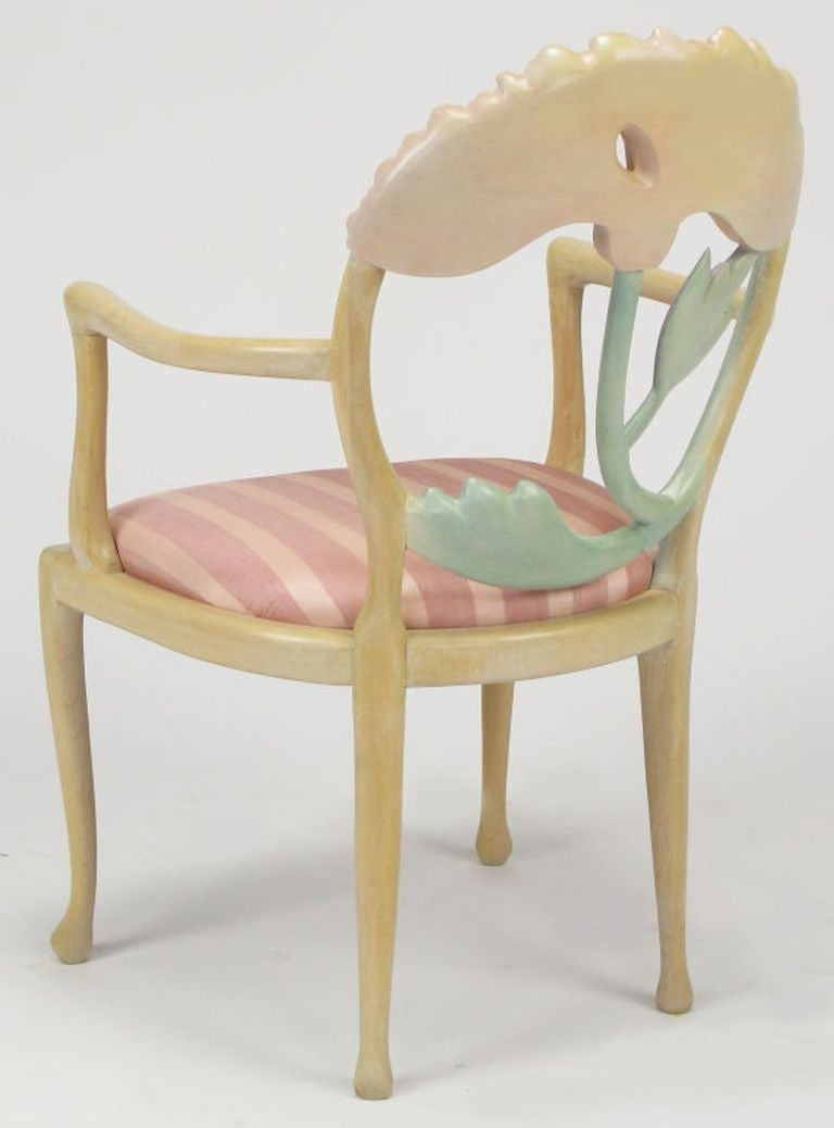 Pair of Italian Polychrome Carved Poppy Armchairs For Sale 1