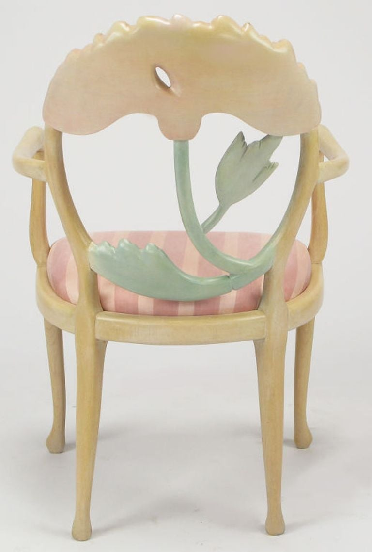 Pair of Italian Polychrome Carved Poppy Armchairs For Sale 2