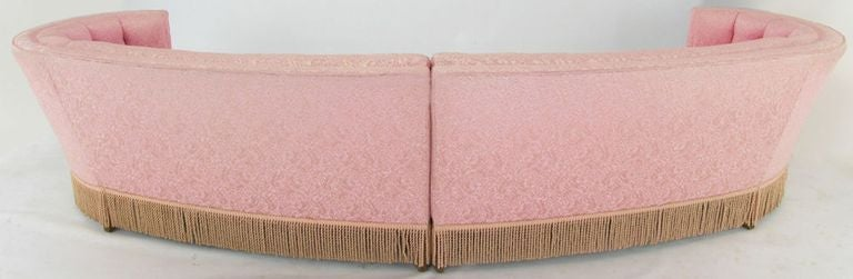 1940s Curved Sectional Sofa In Pink Damask Upholstery 3