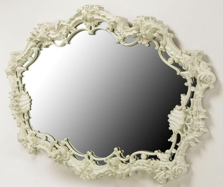 extraordinary italian rococo mirror of white lacquered
