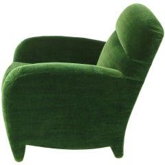 Angelo Donghia Art Deco Club Chair In Emerald Green Mohair