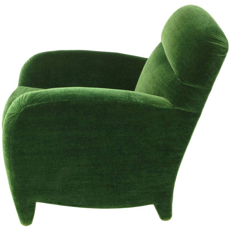 Angelo Donghia Art Deco Club Chair In Emerald Green Mohair 1