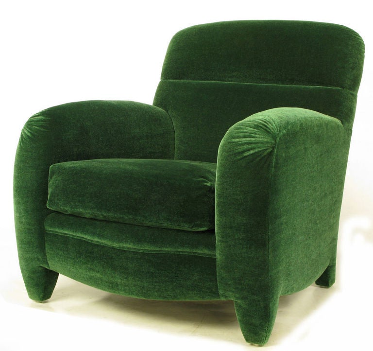 Angelo Donghia Art Deco Club Chair In Emerald Green Mohair 2