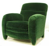 Angelo Donghia Art Deco Club Chair In Emerald Green Mohair image 2