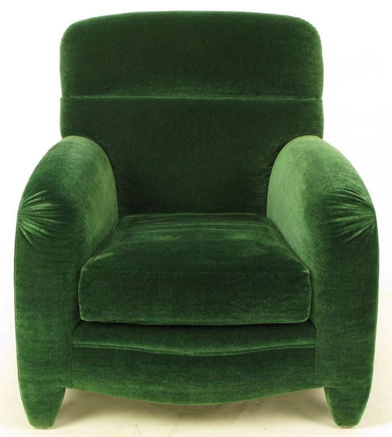 Angelo Donghia Art Deco Club Chair In Emerald Green Mohair