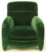 Angelo Donghia Art Deco Club Chair In Emerald Green Mohair image 3