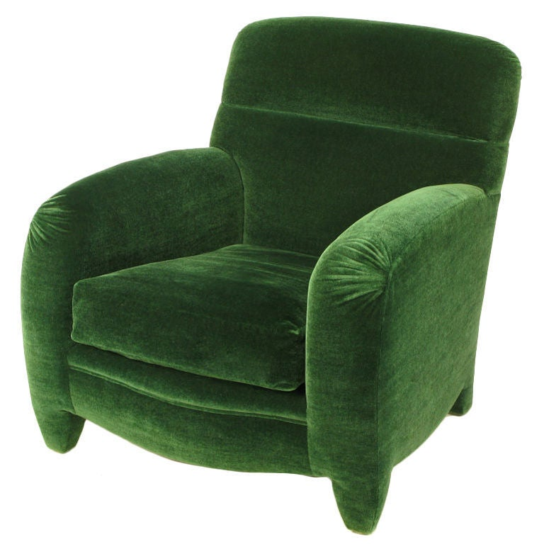 Angelo Donghia Art Deco Club Chair In Emerald Green Mohair 4
