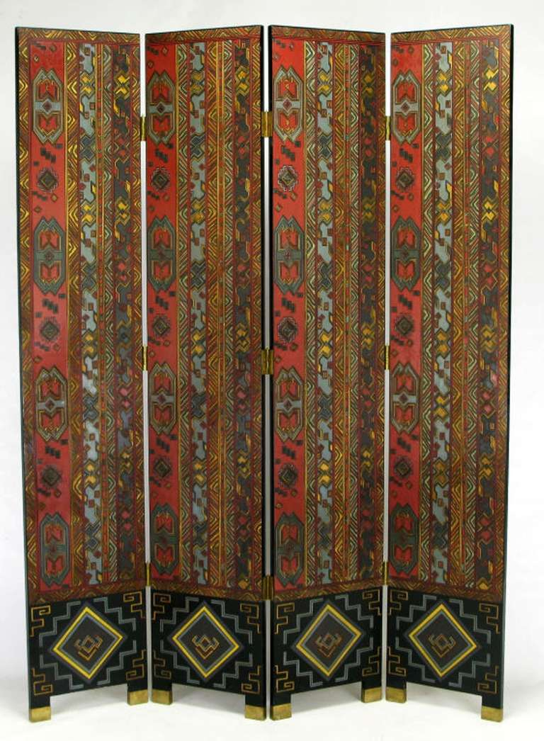 Carved wood and parcel-gilt four-panel screen with muted lacquer coloring of persimmon, teal, black and taupe. The back is finished as well in black lacquer with carved and lacquered designs in persimmon and teal.