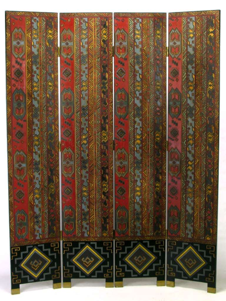 Colorful Carved and Parcel Gilt Geometric Design Four-Panel Screen 3