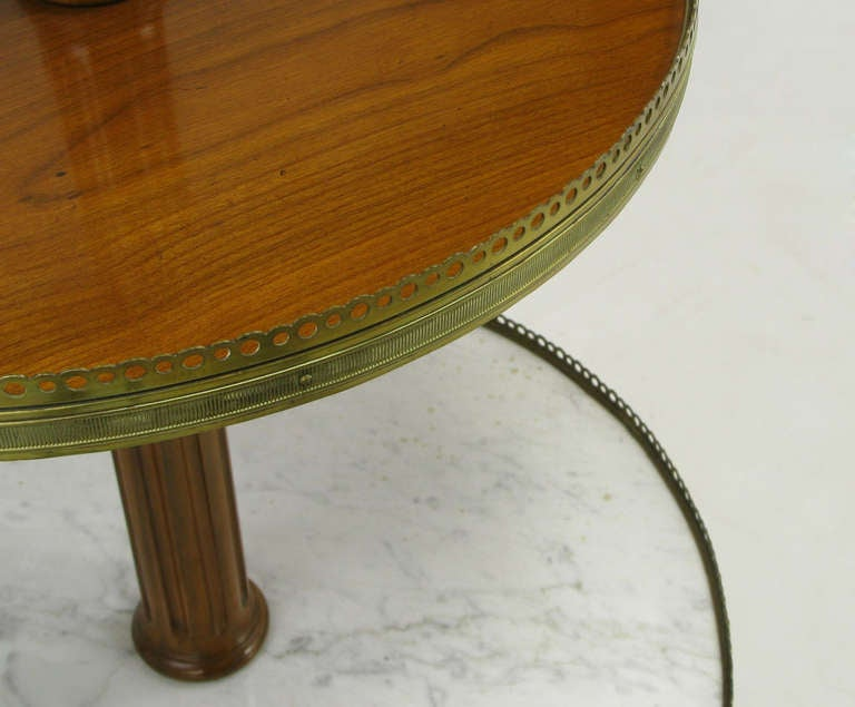 Mid-20th Century French Walnut and Carrera Marble Round Four-Tier Serving Table For Sale