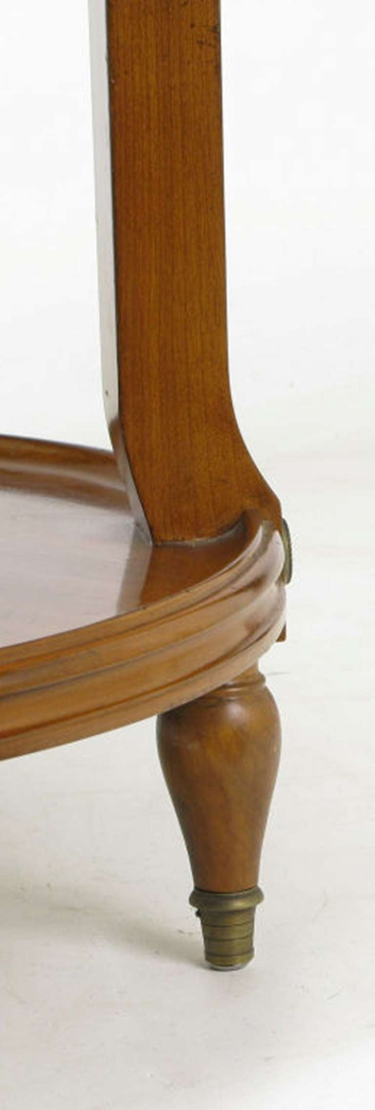 French Walnut and Carrera Marble Round Four-Tier Serving Table For Sale 3