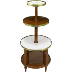 French Walnut and Carrera Marble Round Four-Tier Serving Table