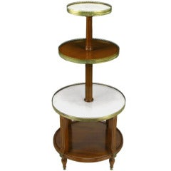 French Walnut & Carrera Marble Round Four-Tier Serving Table
