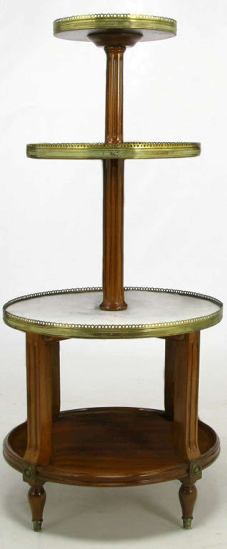 French Walnut and Carrera Marble Round Four-Tier Serving Table In Excellent Condition For Sale In Chicago, IL