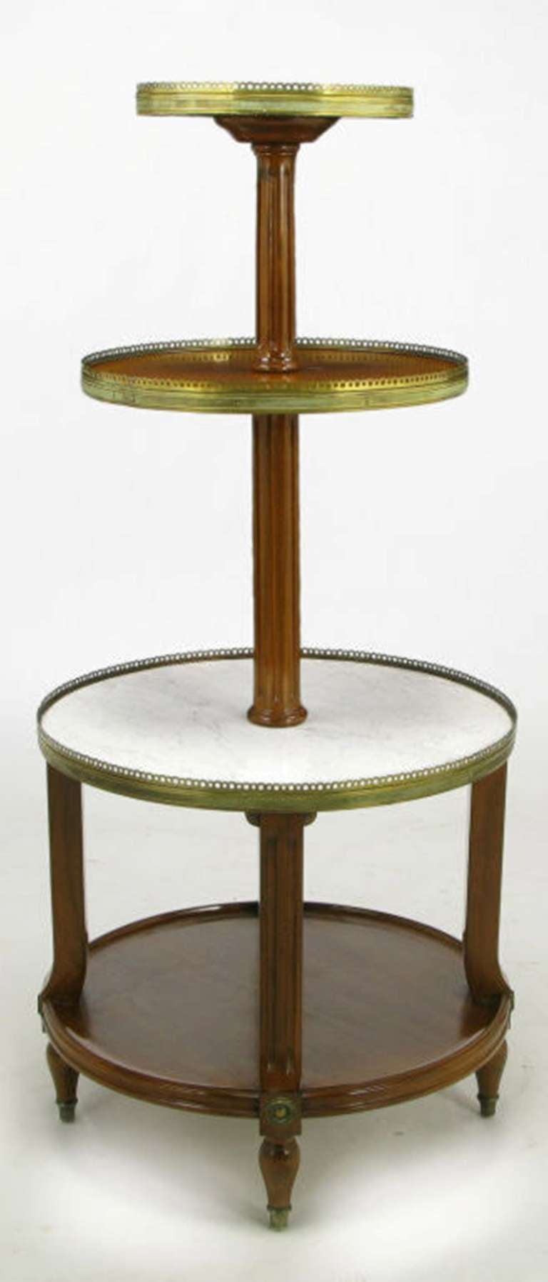 French walnut and carrera marble round four tier serving for Table carrera