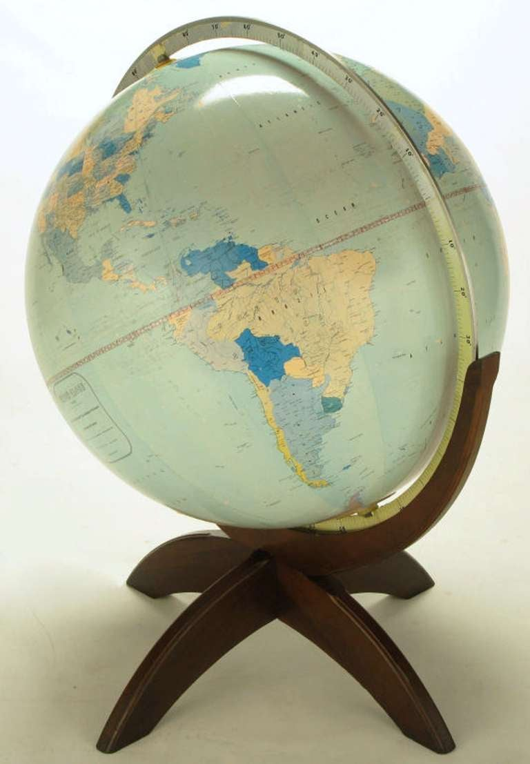Tall Illuminated 1950s Globe With Mahogany Base 4