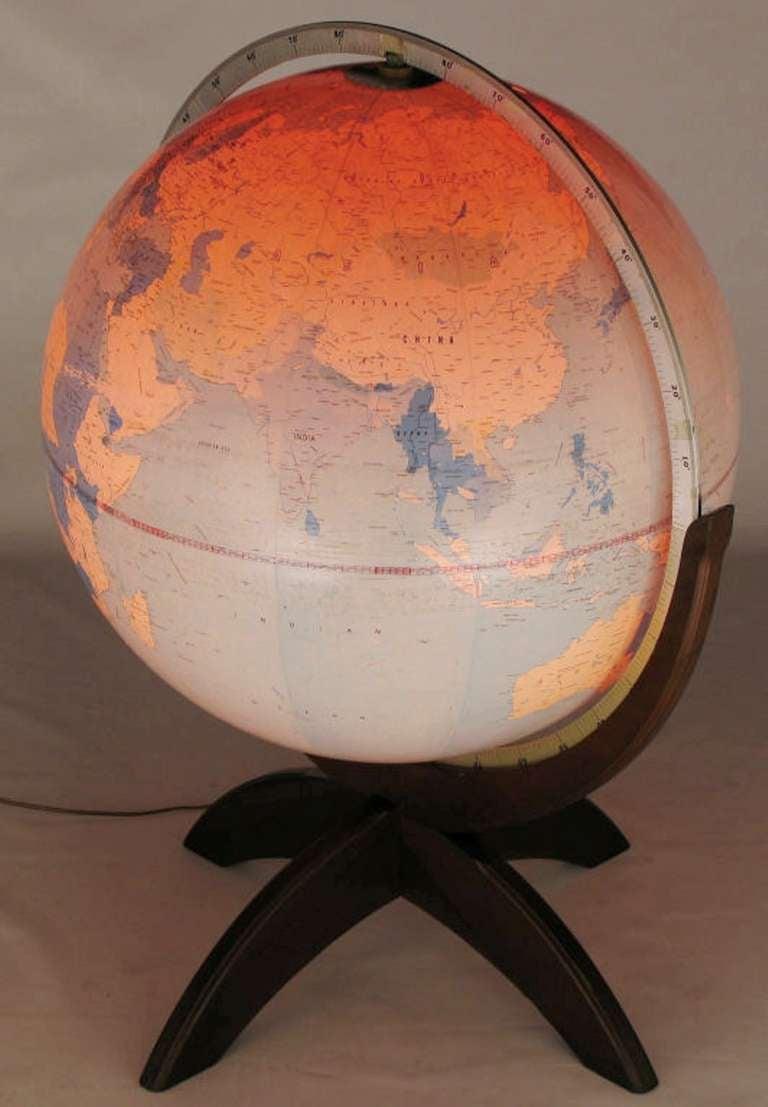 Tall Illuminated 1950s Globe With Mahogany Base 5