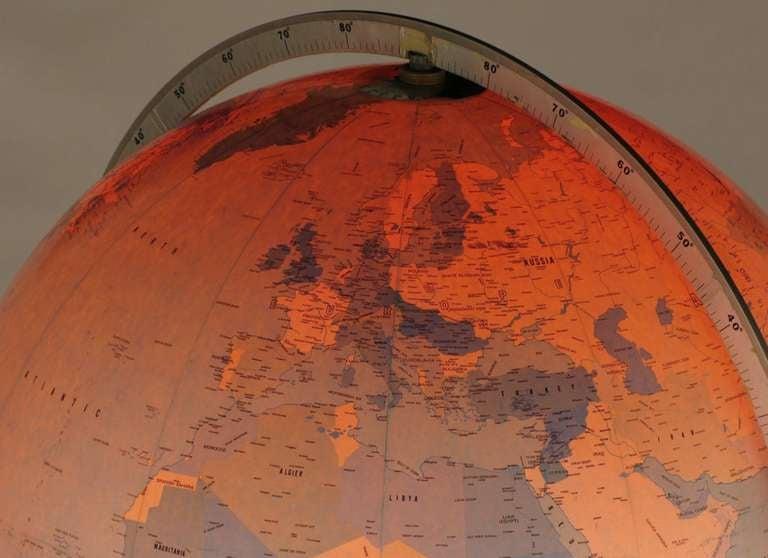 Tall Illuminated 1950s Globe With Mahogany Base 6