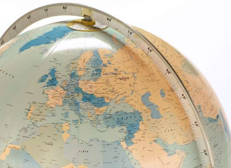 Tall Illuminated 1950s Globe With Mahogany Base 7
