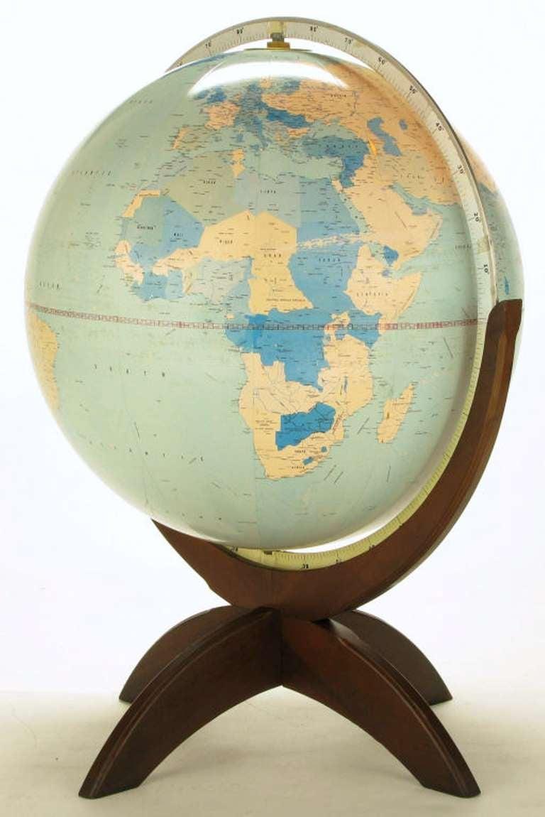 Tall Illuminated 1950s Globe With Mahogany Base 3