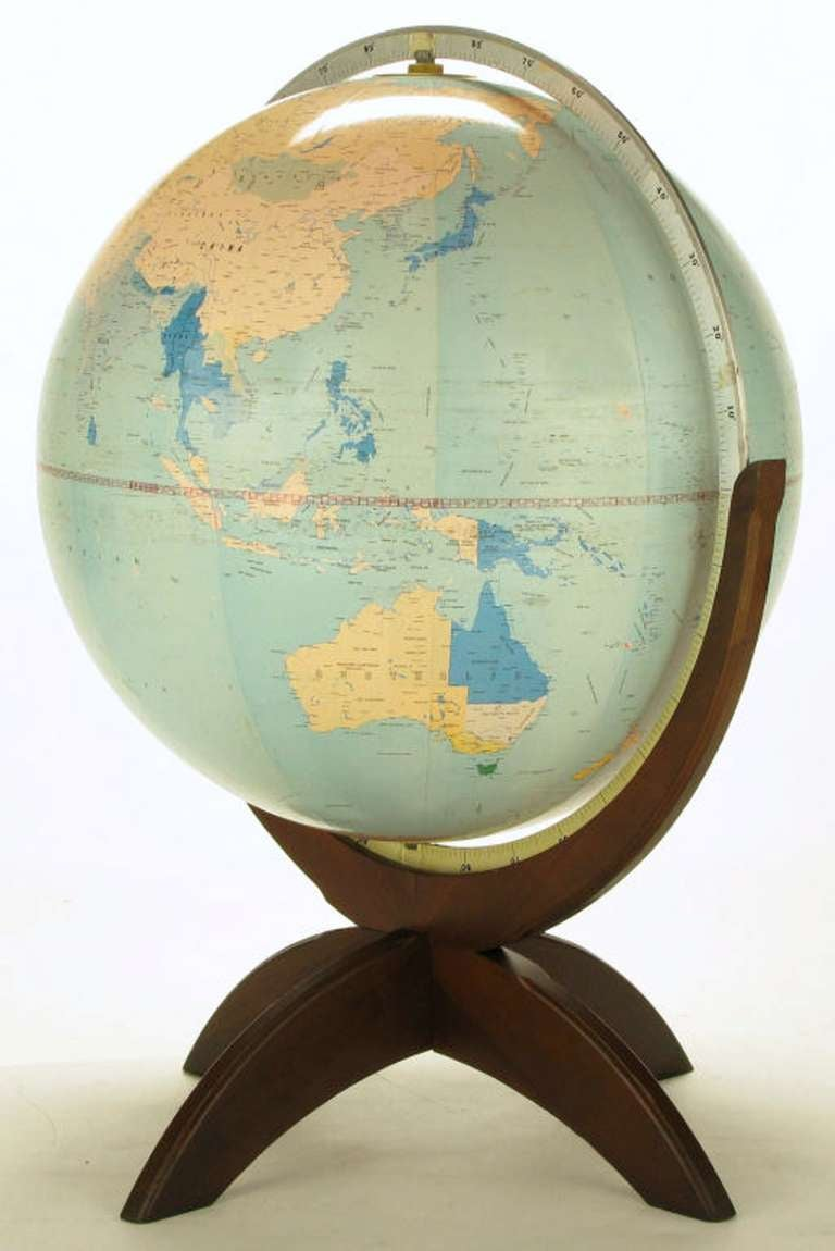 Tall Illuminated 1950s Globe With Mahogany Base 2