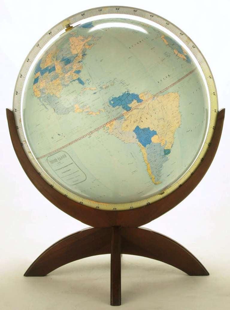 Tall Illuminated 1950s Globe With Mahogany Base 8