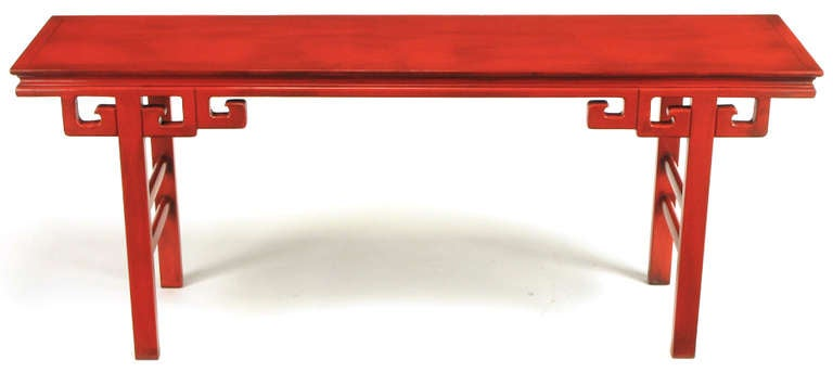 American Circa 1950s Chinese Altar Table In Cinnabar Lacquer For Sale