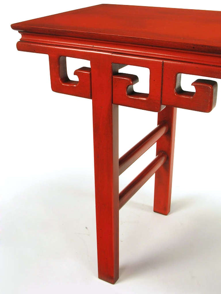 Mid-20th Century Circa 1950s Chinese Altar Table In Cinnabar Lacquer For Sale