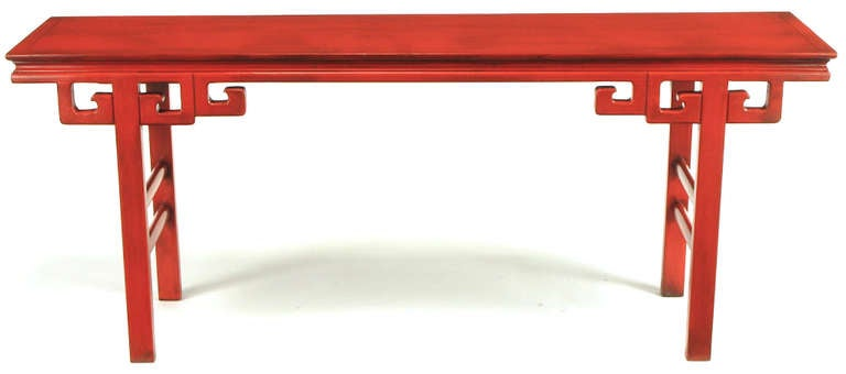 Circa 1950s Chinese Altar Table In Cinnabar Lacquer In Good Condition For Sale In Chicago, IL