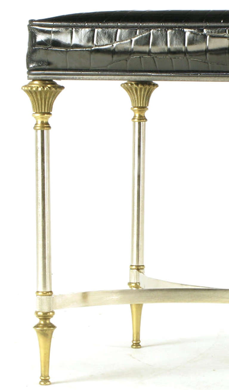 Pair Italian Brushed Nickel And Brass Benches In Patent