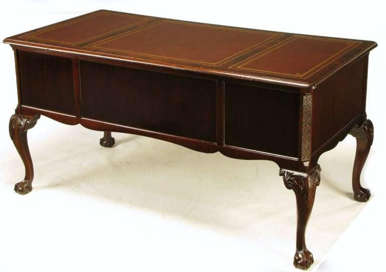 Sligh Flame Mahogany And Tooled Leather Cabriole Leg Desk