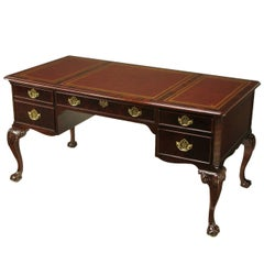 Sligh Flame Mahogany and Tooled Leather Cabriole Leg Desk