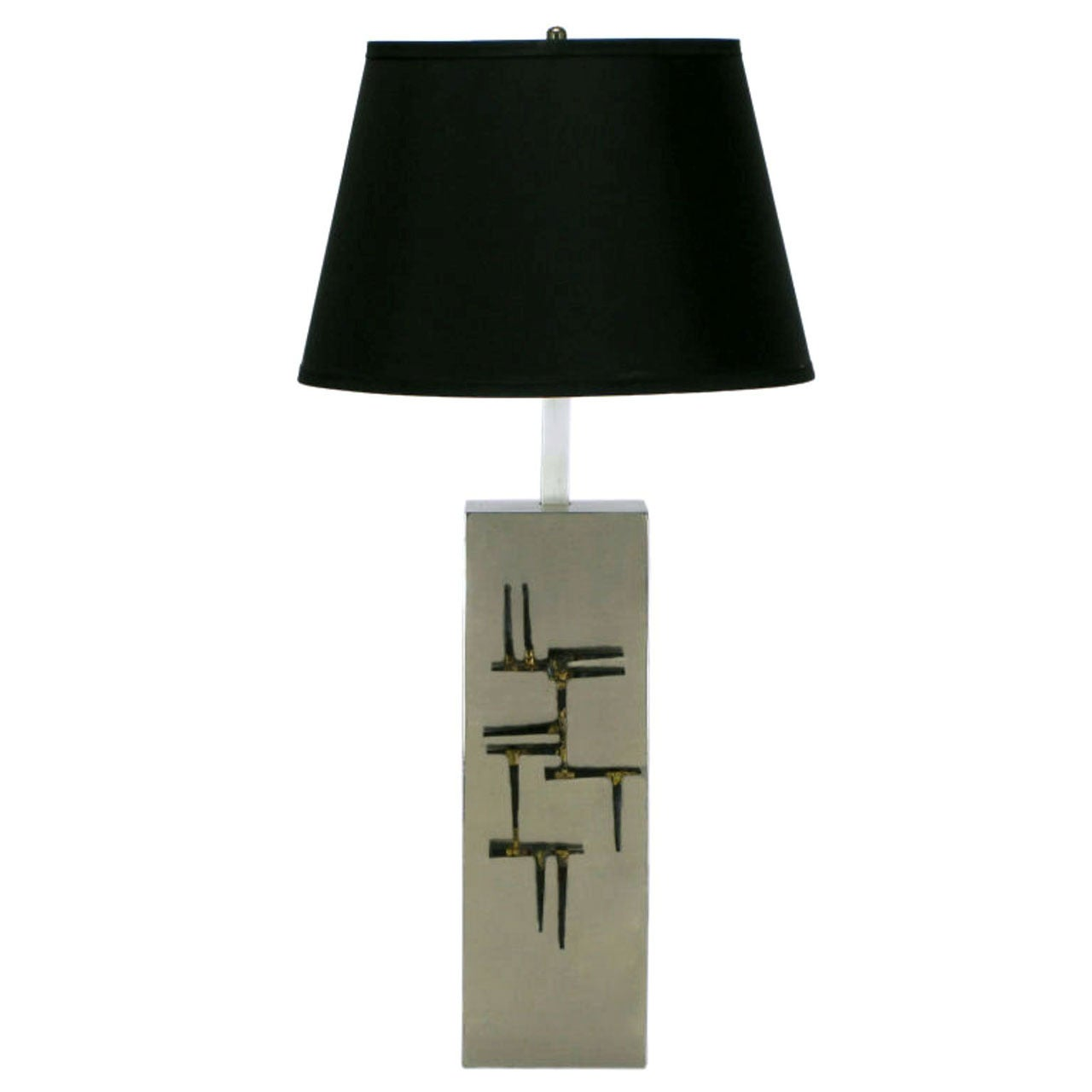 Laurel Brushed Steel Table Lamp with Brazed Farrier Nail Appliques
