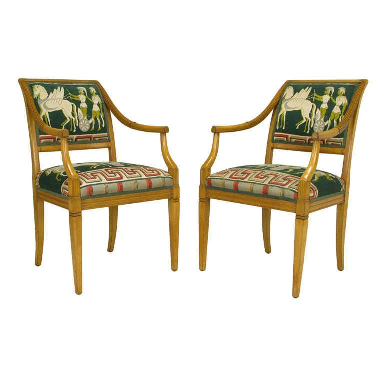 Pair Beech Empire Armchairs With Greek Key Centurion