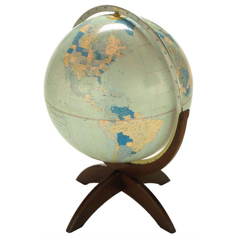 Tall Illuminated 1950s Globe With Mahogany Base 1