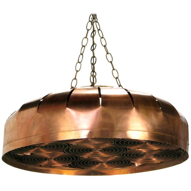 Studio Design Copper Concentric Circles Hanging Light