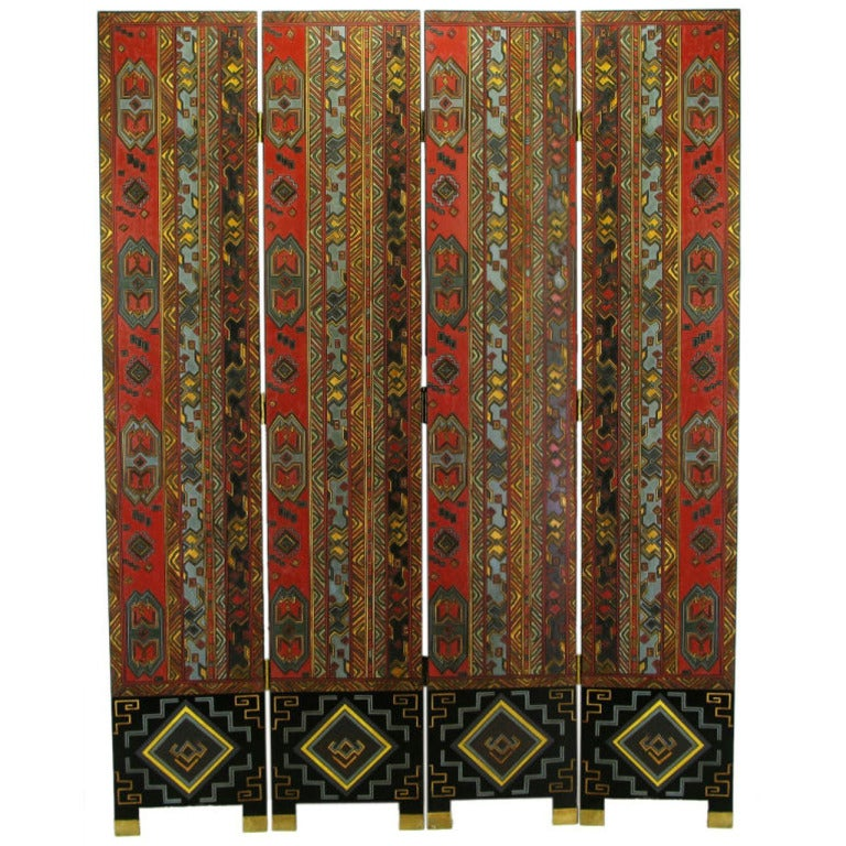 Colorful Carved and Parcel Gilt Geometric Design Four-Panel Screen For Sale